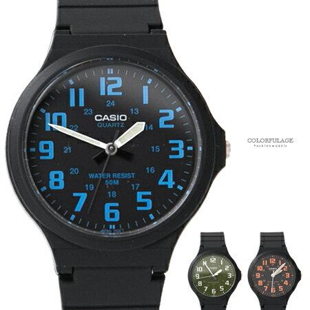 CASIO卡西歐 簡約清晰數字夜光指針石英手錶 大框中性款腕錶 柒彩年代【NE1869】原廠公司貨 - 限時優惠好康折扣