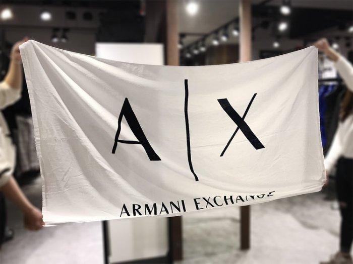 美國百分百【全新真品】Armani Exchange 超大浴巾 沙灘巾 野餐墊野餐布 毛巾 海灘巾 AX 白色 H848