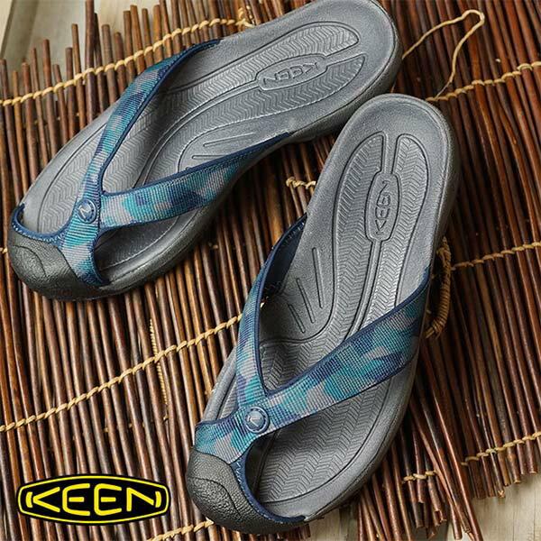 《台南悠活運動家》KEEN1016565男護趾拖鞋深藍