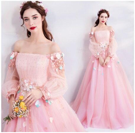 天使嫁衣【AE1688】粉色一字領甜美公主齊地婚紗禮服˙預購訂製款
