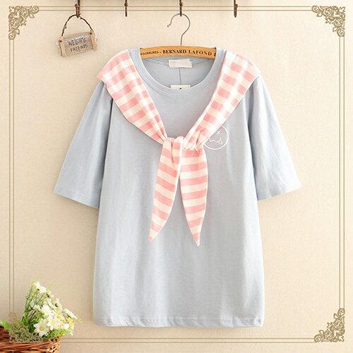 海軍風繫帶笑臉刺繡短袖T恤(3色F碼)【OREAD】 2