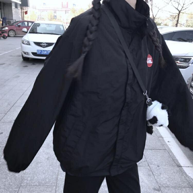 秋冬復古寬鬆夾克沖鋒衣ins男女款薄棉衣防風棒球服班服外套 新年鉅惠