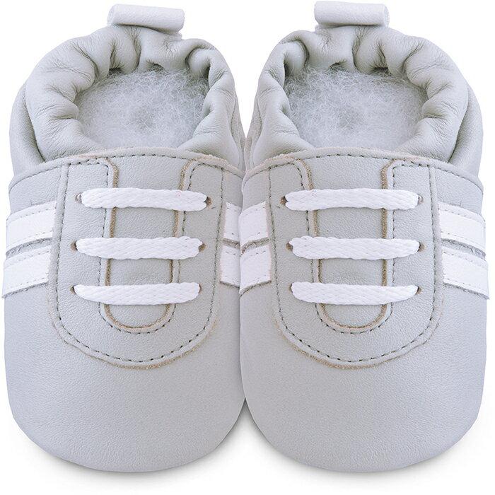 【hella 媽咪寶貝】英國 shooshoos 健康無毒真皮手工學步鞋/嬰兒鞋 灰白運動型 (SS102958)(公司貨)