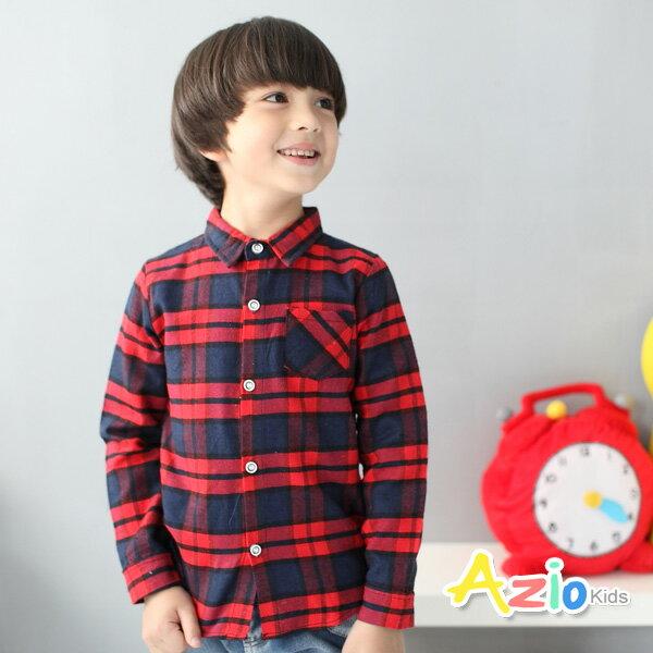 《Azio Kids 美國派 童裝》襯衫 雙線格紋配色單口袋長袖襯衫(紅)