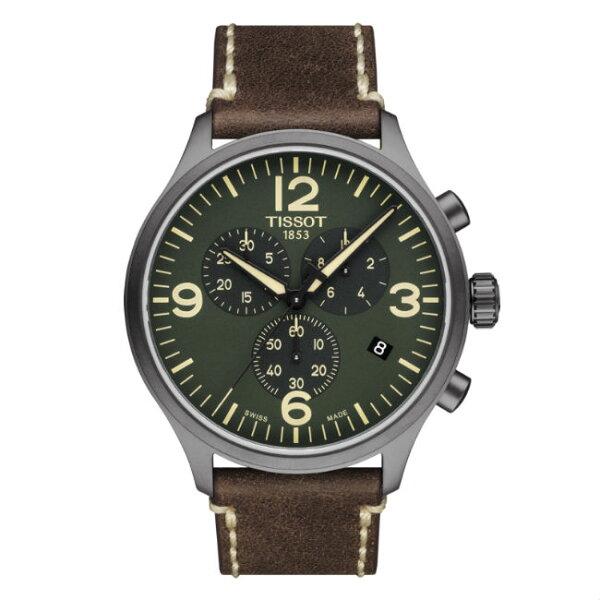 TISSOT天梭錶CHRONOXLT1166173609700時尚計時腕錶綠面45mm
