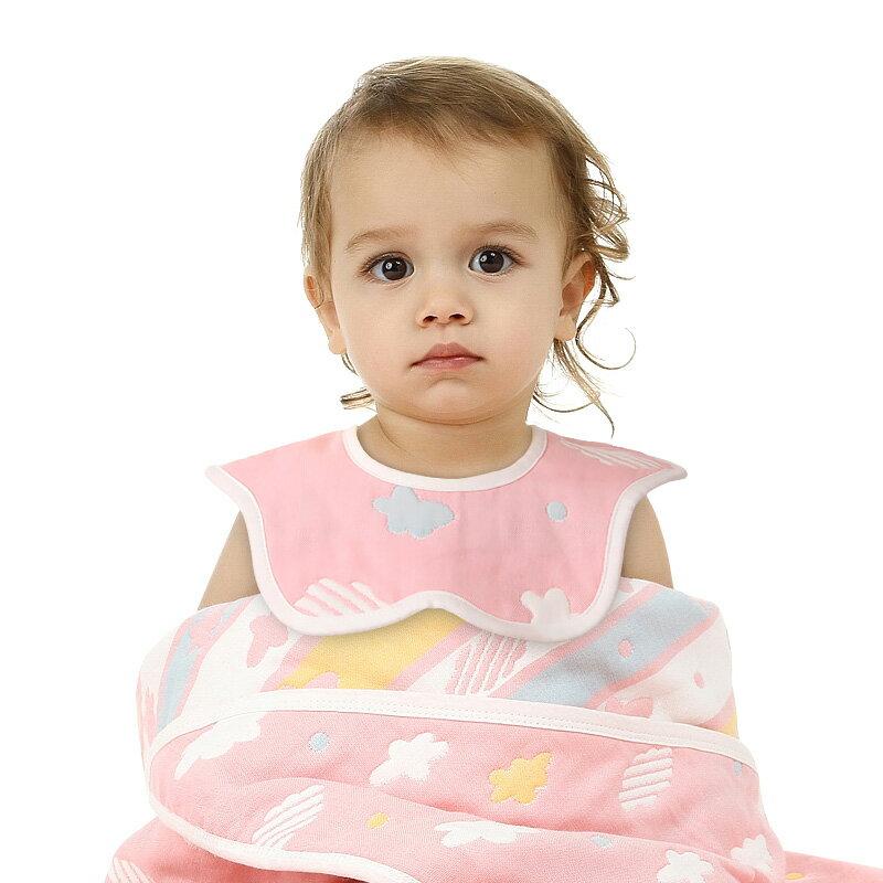 南極人嬰兒口水巾純棉紗布圍嘴360度旋轉【免運】