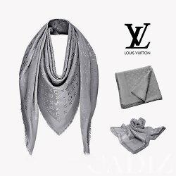 法國正品 Louis Vuitton Monogram SHINE 金銀紗大披披巾 M75120淺炭灰