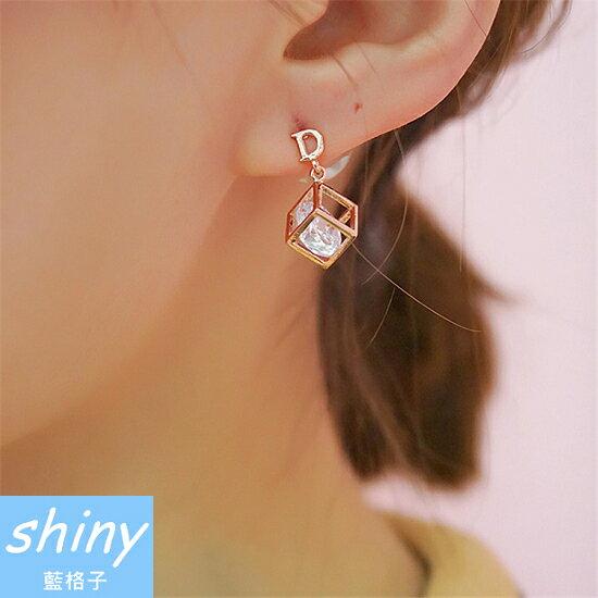 ~【DJA4109】shiny藍格子-閃鋯石幾何體百變魔方耳環★★
