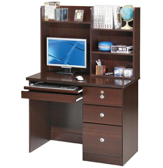 【尚品家具】GF-A2021 幸運草胡桃/白橡3.5尺三抽書桌電腦桌 ~台灣製造《台中多區免運》
