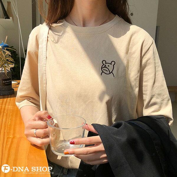 F-DNA★萌萌小熊刺繡圓領短袖上衣T恤(3色-均碼)【ET12703】 5