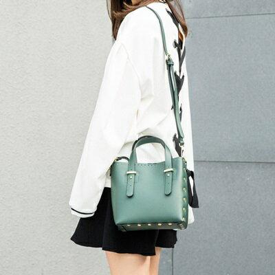 手提包鉚釘肩背包-純色簡約時尚摩登女包包4色73sb17【獨家進口】【米蘭精品】