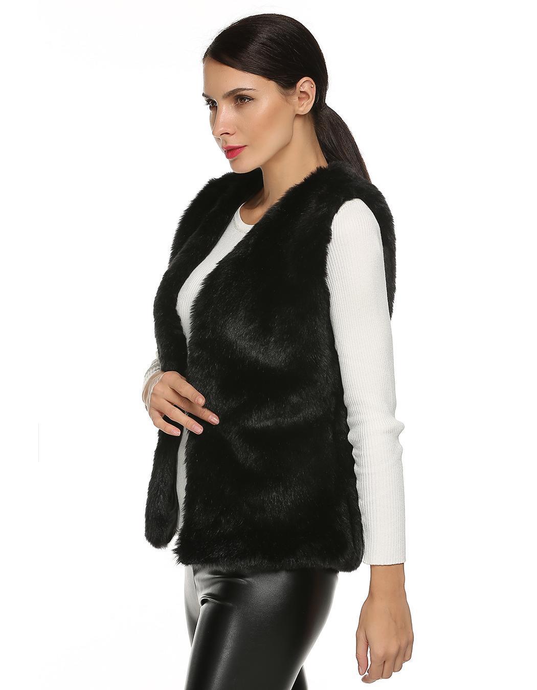 Women Sleeveless Casual Faux Fur Vest Warm Coat 0