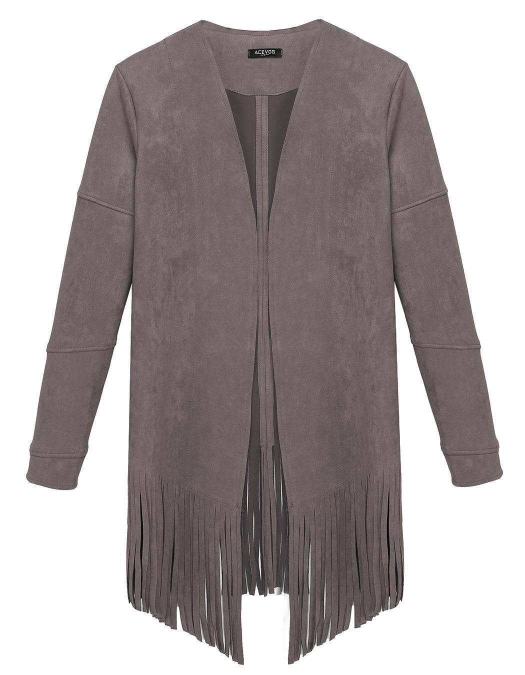 Women Casual Cardigan Long Sleeve Solid Tassel Long Coat 1