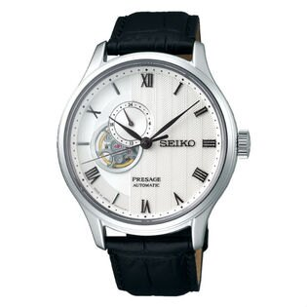 Seiko精工錶Presage4R39-00W0P(SSA379J1)竹苑開芯鏤空小秒針機械腕錶白面42mm