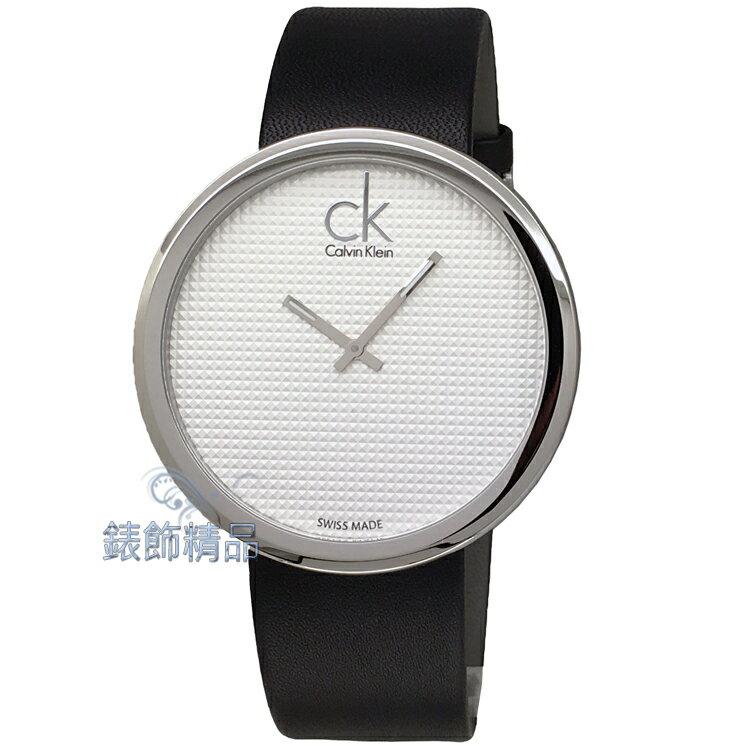 【錶飾精品】CK手錶 立體刻紋錶盤薄型錶殼 K0V231C6 時尚名媛大錶徑銀白面黑皮帶腕錶 全新原廠正品 情人生日禮品