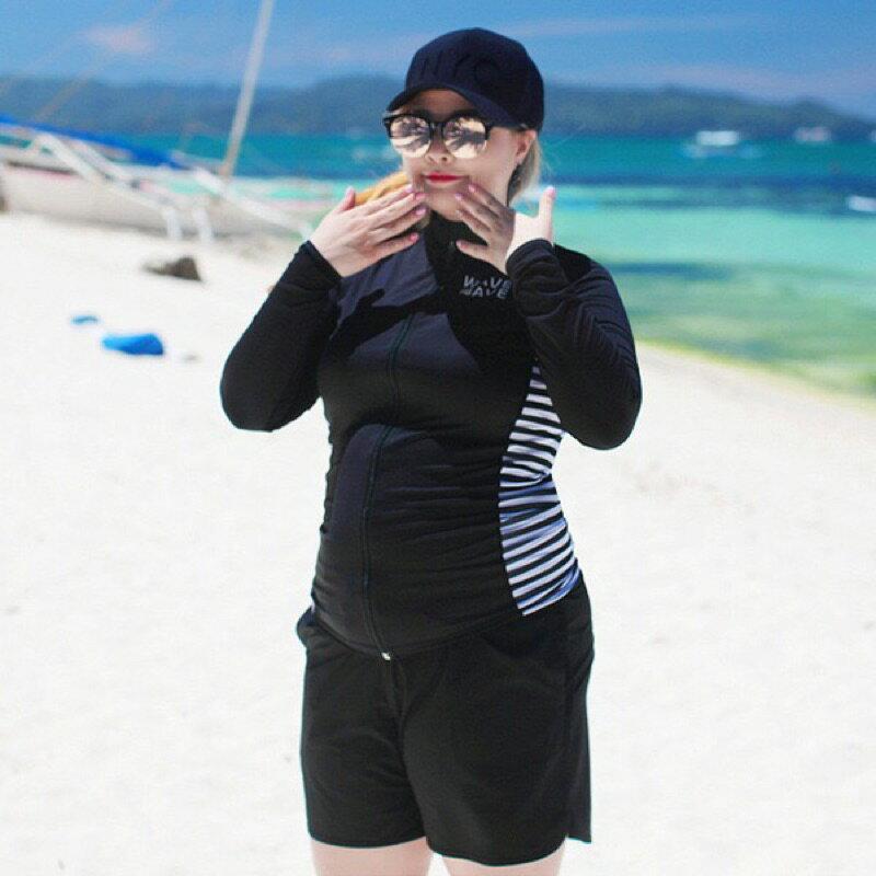 ✨台灣出貨,可自取✨ 速乾材質加大碼XL-5XL分體5件組無鋼圈游泳衣長袖衝浪浮潛水母衣溫泉泳衣運動泳裝*紫玉蘭 9052
