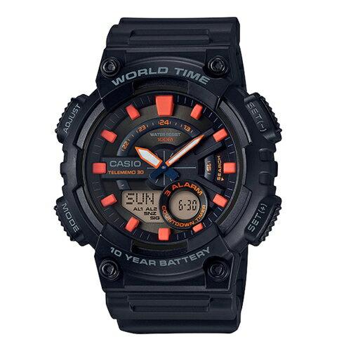 方采鐘錶:CASIO世界城市雙顯錶黑色AEQ-110W-1A2VDF