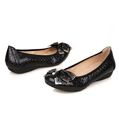 真皮平底鞋 圓頭休閒鞋~優雅輕奢知性蝴蝶結女鞋子2色72ap13~ ~~米蘭 ~