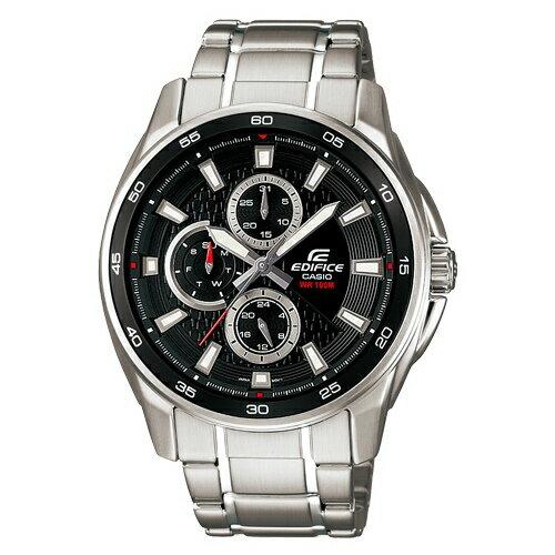 CASIO EDIFICE EF-334D-1A三眼雙日曆賽車腕錶/黑面44mm