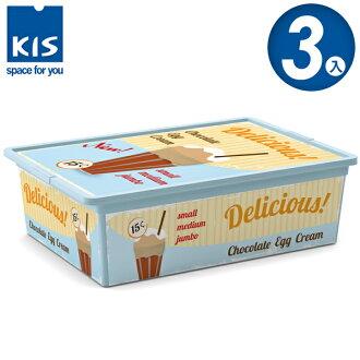 E&J【012005-03】義大利 KIS C BOX 甜點系列收納箱 L (附滾輪) 3入;收納箱/收納盒/玩具收納