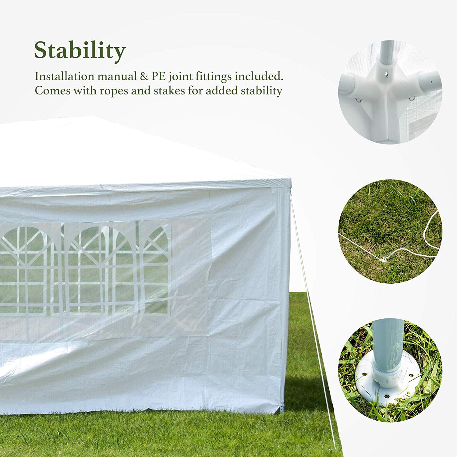 Mcombo 10'x30' Outdoor Canopy Tent Wedding Party Heavy Duty Instant Gazebo  with 5 Removable Sidewalls White