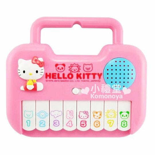 〔小禮堂嬰幼館〕Hello Kitty 迷你電子鋼琴玩具《粉.小動物.側坐》設提把可輕鬆帶著走