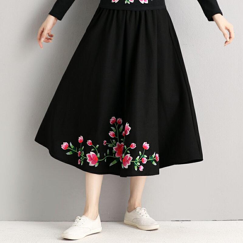 春季新品中國風女裝復古繡花女士棉麻大擺裙春秋民族風中長半身裙1入