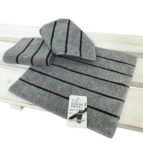 紀州備長炭系列 黑條紋手帕 毛巾 男士 父親 擦手擦汗巾 除菌消臭 耐用/ UCHINO日本內野
