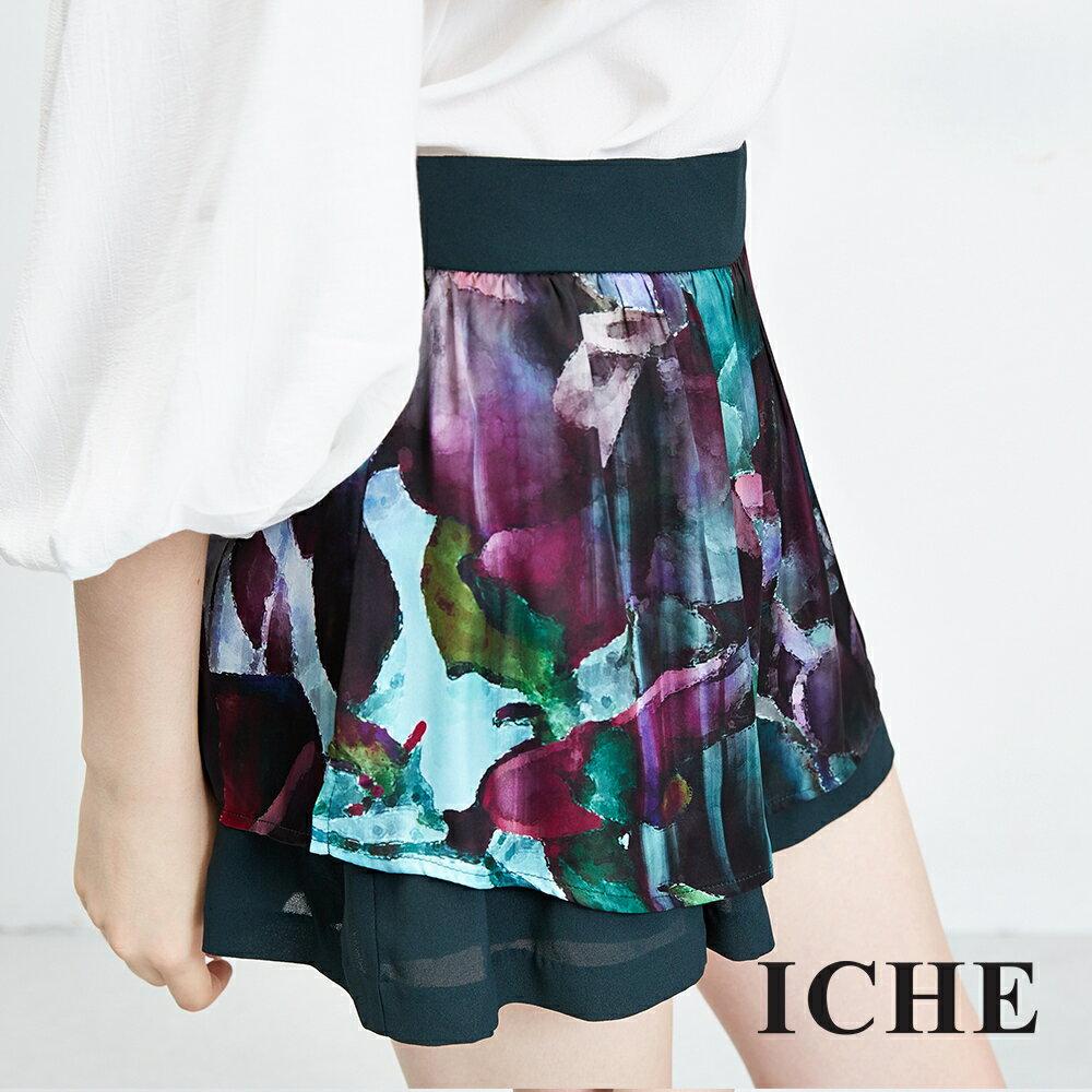 ICHE衣哲 水墨感花朵印花雙層短裙