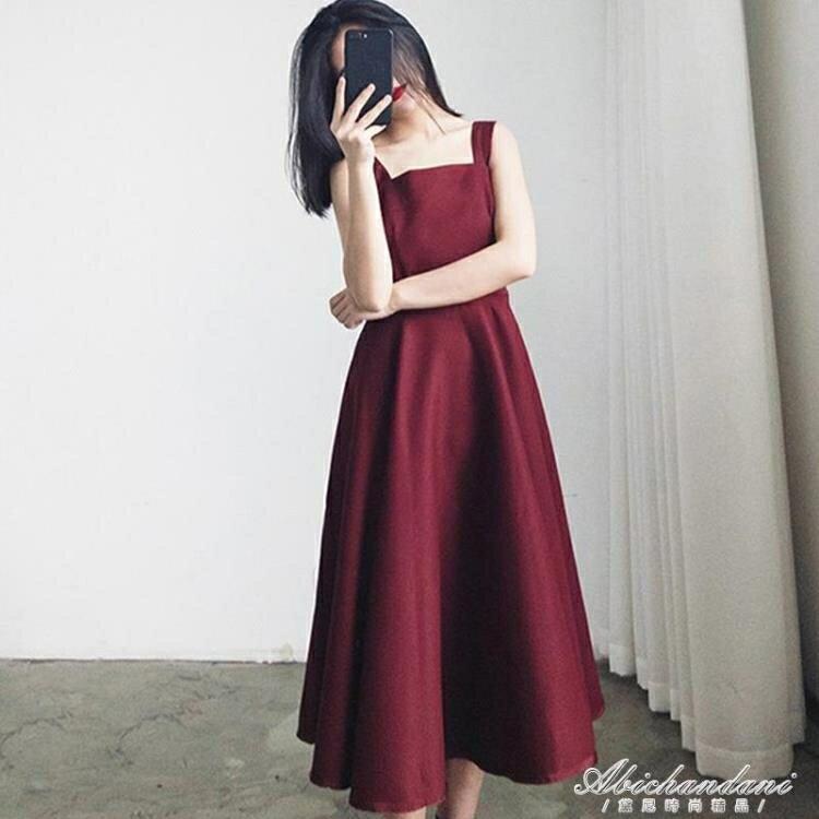 新款無袖吊帶洋裝女夏韓版學生赫本風法式復古氣質高腰長裙 夏洛特居家名品