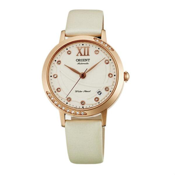 ORIENT東方錶ELEGANT系列(FER2H003W)永恆耀眼時尚機械錶絹布錶帶款白色36mm