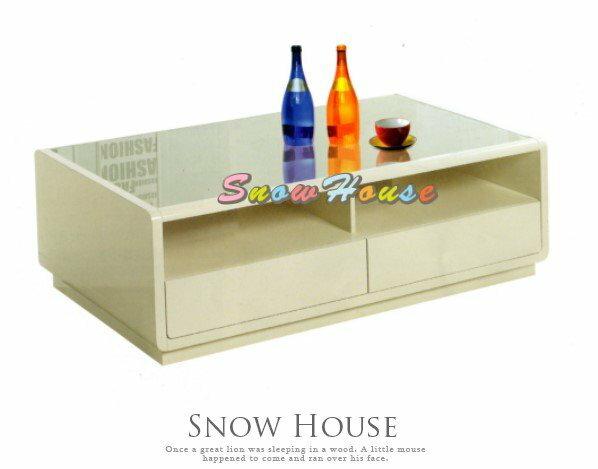 ╭☆雪之屋居家生活館☆╯AA425-06 K462米白色大茶几(啞光烤漆板/5mm強化玻璃)/收納櫃/置物櫃/寬130