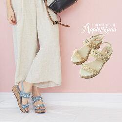 夏日命定渡假風單寧串珠楔型涼鞋【QC103291380】AppleNana蘋果奈奈