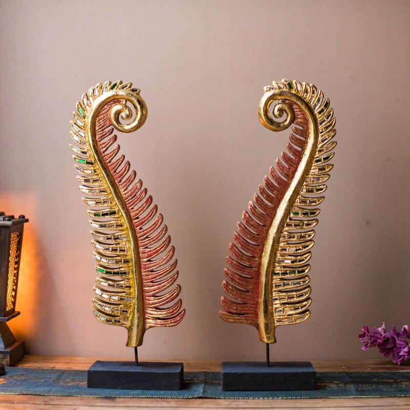 進口熱帶風情棕櫚葉木雕擺件泰國工藝品東南亞裝飾品客廳門廳擺設