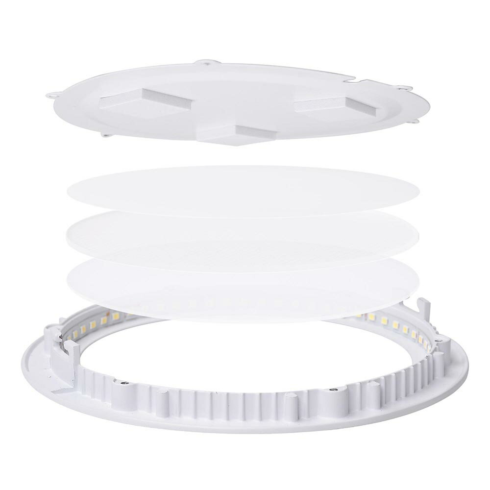 DELight Set of 10pcs 12W Round LED Ceiling Flat Panel Light Recessed Downlight 6000-6500K 960LM 4