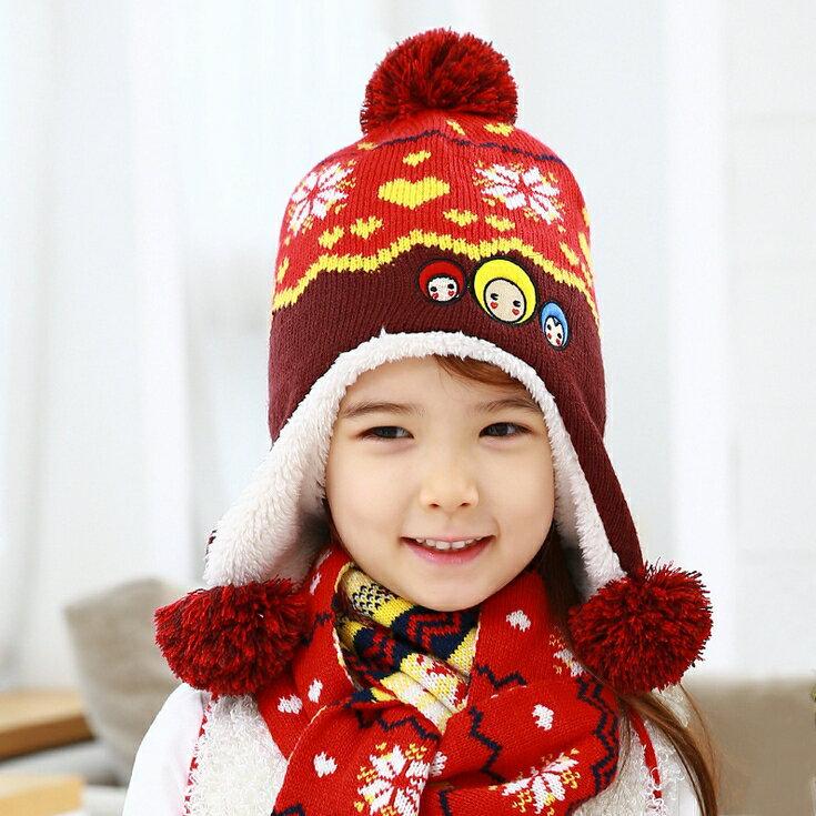 Kofairy◆秋冬保暖雪花大頭娃娃造型拚色毛球兒童毛絨帽+圍巾  2件套 - 紅色