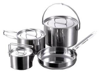 【露營趣】中和 Captain Stag 鹿牌 M-5504 燕三條不鏽鋼鍋具四件組 L 湯鍋 平底鍋 煎鍋 套鍋 茶壺