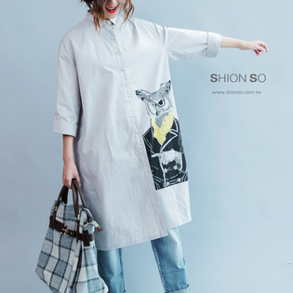 享瘦衣舍中大尺碼【B9166】設計款貓頭鷹印花圖騰長版襯衣裙