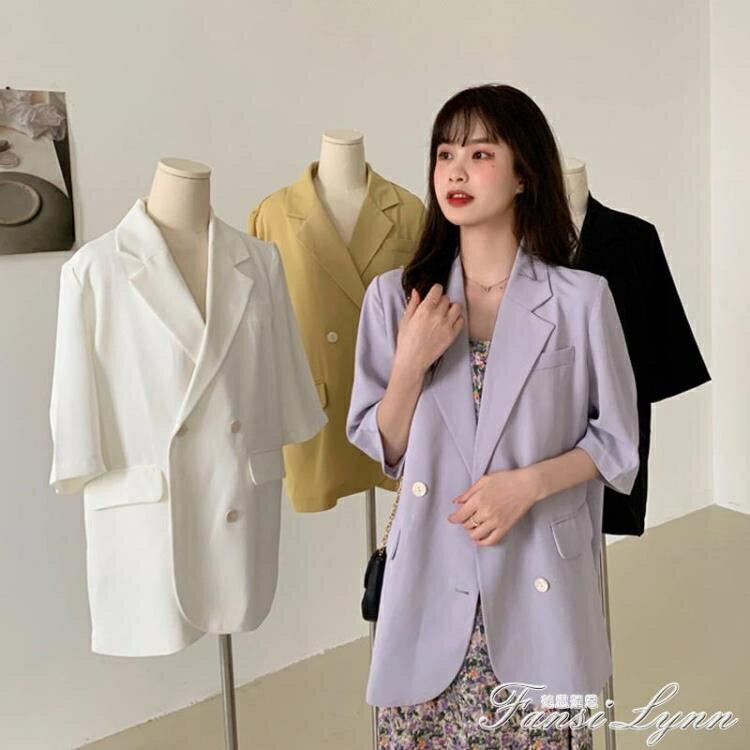 新品上市 限時優惠白色西裝外套女夏2021新款小個子設計感小眾英倫風氣質女神范西服