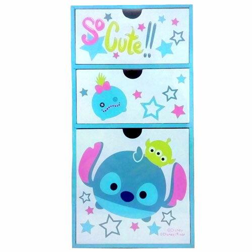 【真愛日本】17110800008 直立三抽盒-TSUM史迪奇 迪士尼 星際寶貝 收納櫃 日用品 居家生活