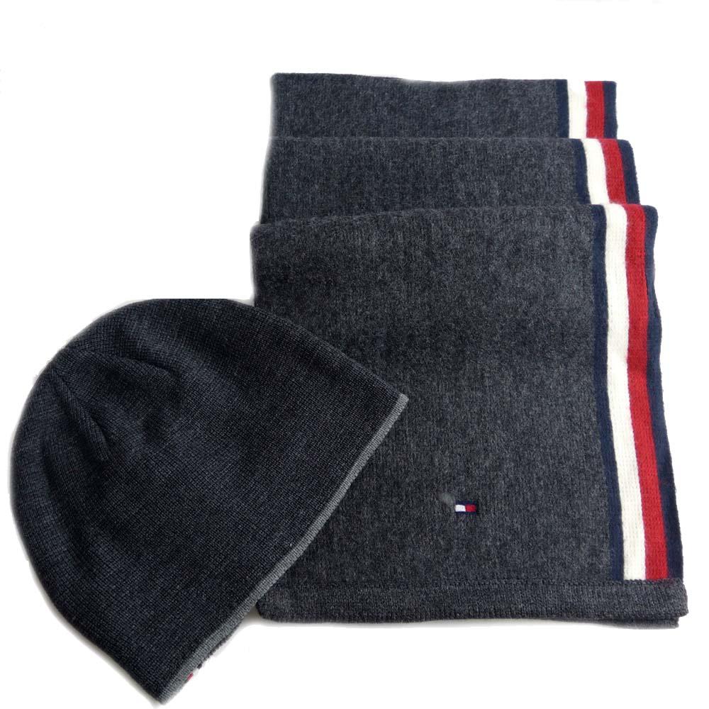 Tommy Hilfiger 黑灰圍巾+毛帽組