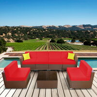 MCombo Patio furniture sectional Sets Wicker Rattan Couch Sofa Chair Luxury Big Size Red Cushion