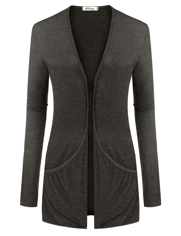 Women Long Sleeve Solid Cardigan Front Pocket Outwear 1