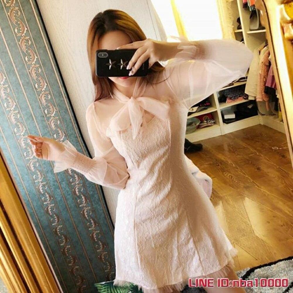 長袖洋裝秋季裙子新款氣質網紗拼接修身繫蝴蝶結長袖打底裙短款洋裝 CY潮流站