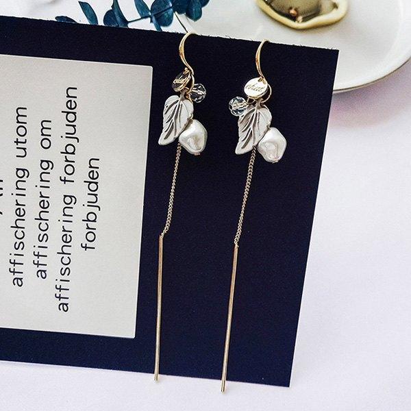 耳環葉子拼接珠珠鍊條流蘇個性耳?耳環【DD1804216】BOBI0524