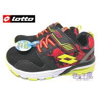 【巷子屋】義大利第一品牌-LOTTO 輕巧玩色男童復古氣墊運動慢跑鞋 [5110] 黑紅 超值價$498 0