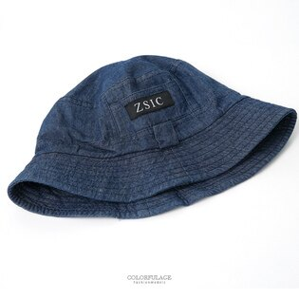 漁夫帽深藍牛仔貼標造型漁夫帽【NHD5】柒彩年代
