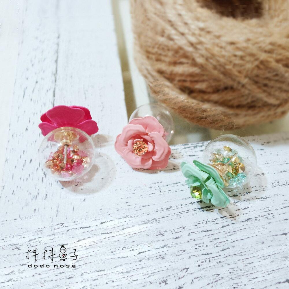 亮鑽玻璃球花朵耳環(3色) 0