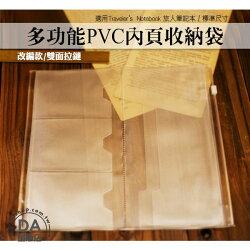 《DA量販店》適用 Traveler's Notebook 旅人筆記本 標準 PVC內頁 雙拉鏈 (84-0010)