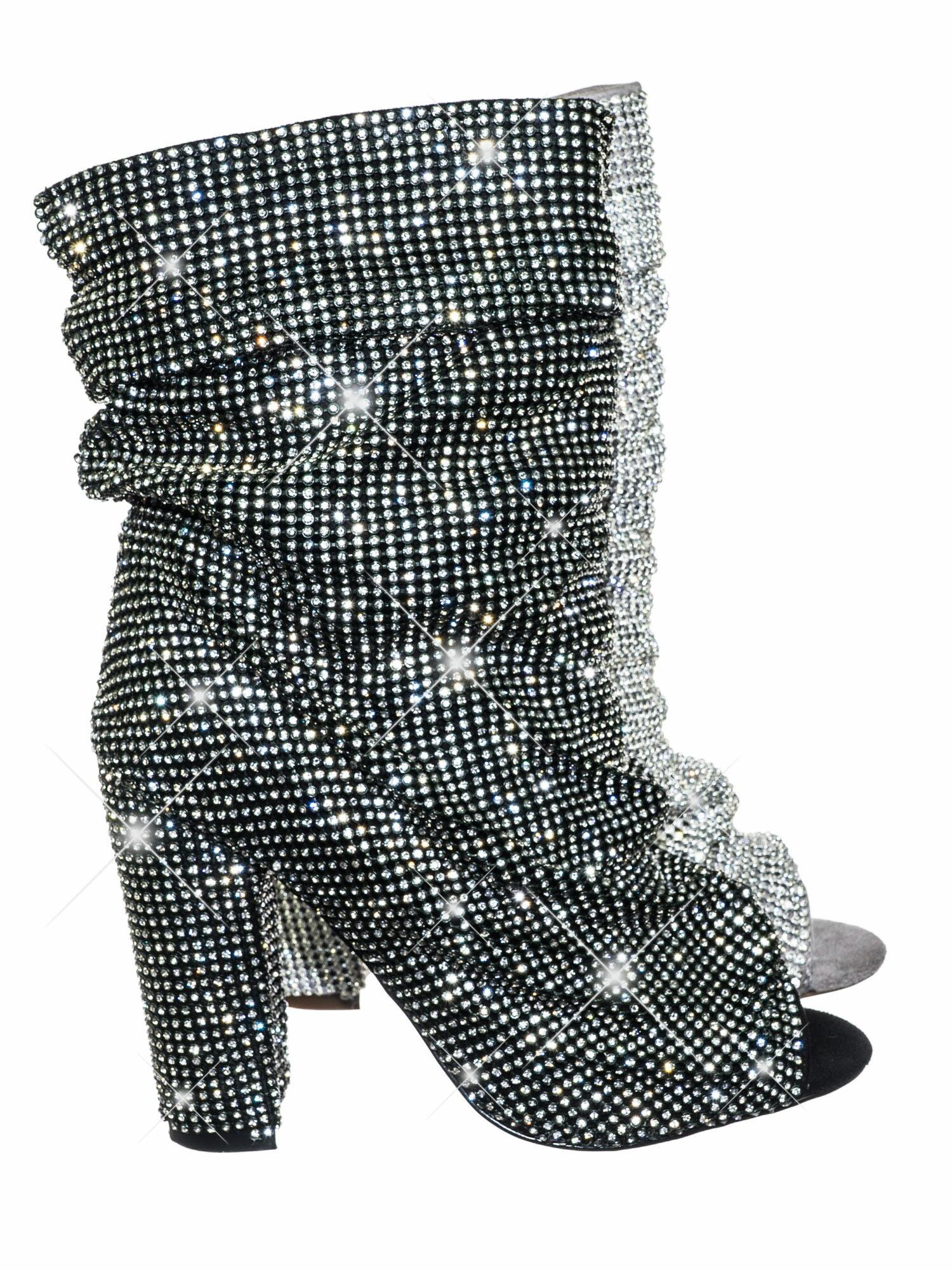 092b776450c Queen Black by Liliana Women s Rhinestone Crystal Peep Toe Block Heel High  Ankle Slouch Bootie 0